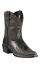 Ariat® Dahlia™ Children's Vintage Black Tooled Snip Toe Western Boots