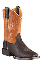 Ariat® Quickdraw™ Kids Chocolate Elephant w/ Mandarin Orange Top Square Toe Boots
