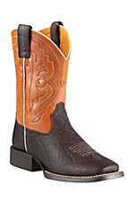 Ariat® Quickdraw™ Youth Chocolate Elephant w/ Mandarin Orange Top Square Toe Boots