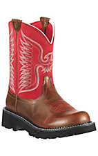 Ariat® Fatbaby™ Women's Fiddle Brown w/ Red Thunderbird Upper Western Boots