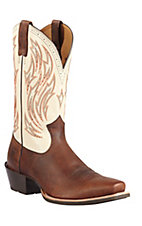 Ariat® Hotshot™ Men's Brown Oiled Rowdy w/Cream Top Square Toe Western Boots