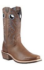 Ariat Heritage Roughstock Men's Distressed Brown Square Toe Western Boots