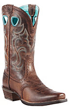 Ariat Rawhide Ladies Sassy Brown Punchy Square Toe Western Boot