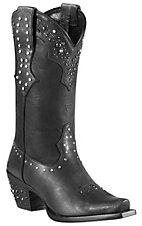Ariat Women's Pitch Black Rhinestone Cowgirl Snip Toe Western Boots