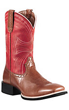Ariat® Sport™ Mens Vintage Cedar w/ Mega Red Double Welt Wide Square Toe Western Boots
