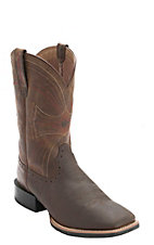 Ariat Sport Mens Distressed Brown Double Welt Wide Square Toe Western Boots