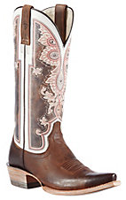 Ariat® Women's Weathered Brown Alameda w/ Regal Print Top Snip Toe Western Boots