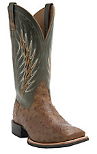 Ariat Men's Yuma Tan Full Quill Ostrich w/Cactus Green Top Double Welt Square Toe Western Exotic Boots