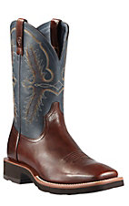 Ariat Men's Heritage Mammoth Brown w/ Blue Top Double Welt Crepe Sole Square Toe Western Boots