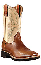 Ariat Men's Heritage Coyote Brown w/Cream Top Double Welt Crepe Sole Square Toe Western Boots