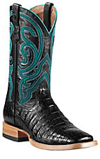Ariat Men's Black Caiman Belly w/Black Top Stillwater Double Welt Sqaure Toe Exotic Western Boots