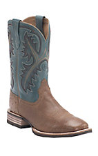 Ariat Quickdraw Men's Antique Tan Smooth Ostrich w/Blue Top Double Welt Square Toe Exotic Western Boots