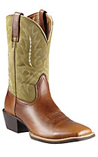 Ariat Sport Outfitter Men's Coyote Brown with Moss Upper Double Welt Square Toe Western Boots