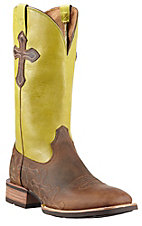 Ariat Crossroads Men's Powder Brown w/ Lime Top & Crosses Double Welt Square Toe Western Boots