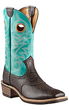 Ariat Heritage Roughstock Men's Chocolate Elephant Print w/Blue Top Saddle Vamp Square Toe Western Boots