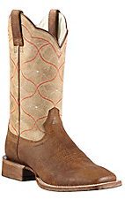 Ariat Honky Tonk Men's Tan Oil Gaucho w/Sand Big City Top Double Welt Square Toe Western Boots