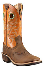 Ariat Heritage Roughstock Men's Distressed Brown with Orange Top Square Toe Western Boots