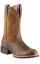Ariat Men's Earth Brown/Dry Well Tan Hybrid Rancher Round Toe
