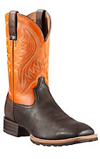 Ariat Men's Grain Chocolate w/Burnt Orange Top Hybrid Ransher Double Welt Square Toe