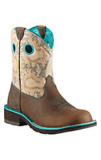 Ariat Fatbaby Starstruck Powder Brown with Sand Python Top Western Boot