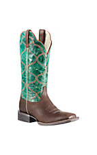 Ariat� Honky Tonk Collection? Ladies Seal Brown w/Green Top Big City Double Welt Square Toe Western Boots
