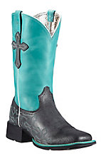 Ariat Crossroads Women's Anthracite Black w/Blue Top & Crosses Double Welt Square Toe Western Boots