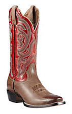 Ariat® Angelica™ Women's Gunsmoke Brown w/ Scarlet Red Top Punchy Square Toe Western Boots