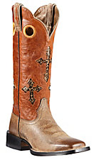 Ariat Ranchero Women's Tumbled Tawny Brown w/Sunset Orange Cross Inlay Top Double Welt Square Toe Western Boots