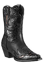 Ariat Dahlia Women's Black with Embossed Floral Detail Snip Toe Western Boots