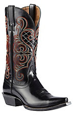 Ariat Honky Tonk Collection Women's Bright Lights Jet Black Dress Leather Snip Toe Western Boots