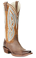 Ariat Women's Gunsmoke Tan Riata w/ Embroidered Top Snip Toe Western Boots