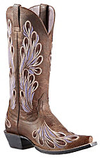 Ariat Mirabelle Women's Tumbled Tawny Brown with Feather Embroidery Snip Toe Western Boot