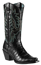 Ariat Dakota Women's Black Gator Print Snip Toe Western Boot