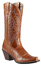 Ariat Ladies Tan Gator Print Dakota Snip Toe Western Boots