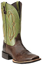 Ariat Quantum Brander Men's Thunder Brown with Green Top Square Toe Western Boots