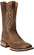 Ariat Quickdraw Mens Vintage Bomber Brown Wingtip Double Welt Wide Square Toe Western Boots