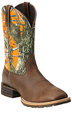 Ariat Hybrid Rancher Men's Brown with Orange True Timber Camo Top Square Toe Western Boot