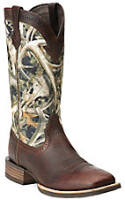Ariat Quickdraw Men's Brown Oiled Rowdy with Bonz Camo Upper Wide Square Toe Western Boots