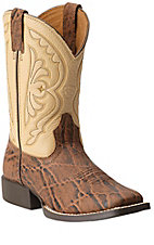 Ariat Quickdraw Kids Chestnut Elephant with Cream Top Square Toe Western Boots