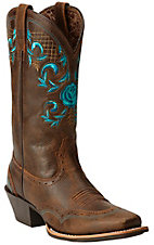 Ariat Terrace Acres Women's Vintage Bomber Brown w/ Turquoise Rose Top Punchy Square Toe Western Boots