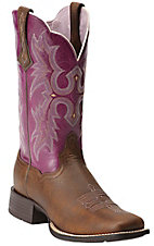 Ariat Tombstone Women's Vintage Bomber Brown with Plum Top Square Toe Western Boot