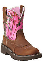 Ariat Fatbaby Women's Tanned Copper with Pink Camo Top Boots