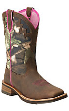 Ariat Unbridled Women's Powder Brown with Camo Top Square Toe Western Boot