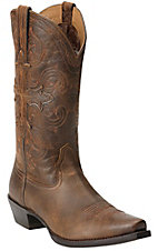 Ariat Fearless Men's Bison Brown with Cross Pull Strap Snip Toe Western Boot