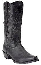 Ariat Fearless Men's Vintage Black with Cross Pull Strap Snip Toe Western Boot