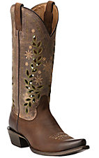 Ariat Arrosa Women's Mocha w/ Weathered Brown Top Snip Toe Western Boots