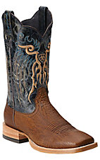 Ariat Shallow Water Men's Pecan Shrunken Shark w/ Blue Silver Stream Top Double Welt Exotic Square Toe Western Boot