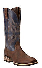 Ariat Tycoon Men's Bar Top Brown w/ Arizona Sky Top Double Welt Square Toe Western Boots