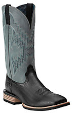 Ariat Men's Tycoon Black Basket Stamp with Tule Fog Top Square Toe Western Boot