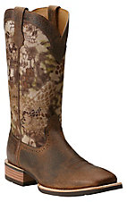 Ariat Quickdraw Men's Earth Brown with Kryptek Highlander Camo Upper Wide Square Toe Western Boots